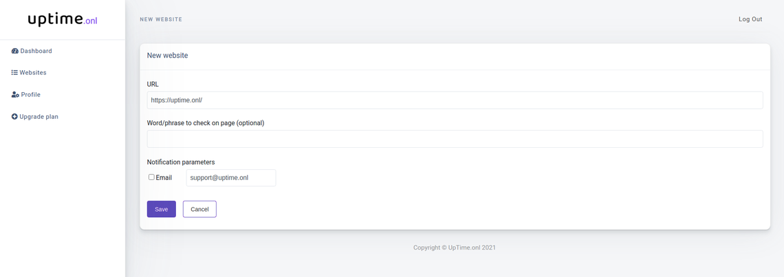 Add a new URL form. Screenshot from the dashboard